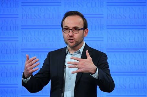 Adam Bandt speaking at the National Press Club