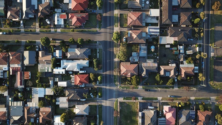 Melbourne suburb photographed from above
