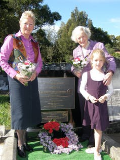 In 2006 a new memorial to Millicent Bryant was placed in Manly (now Balgowlah) Cemetery. It was dedicated by the late Nancy Bird Walton, pictured with Gaby Kennard (left) the first Australian woman to fly a single-engine plane around the world.