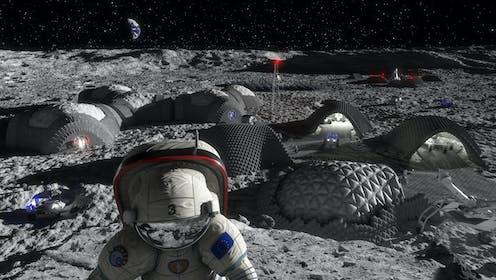 Artist's illustration of a Moon base.