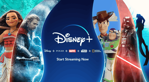A series of Disney+ shows surround the streaming service's logo.