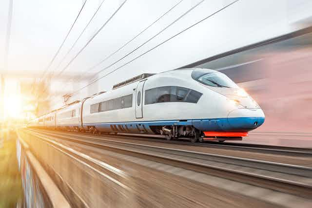 High-speed electric train in motion.