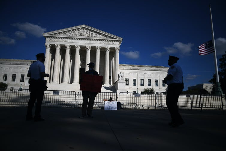 The front of the US Supreme Court building.
