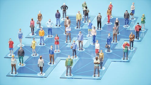 graphical representations of several dozen people standing on the nodes of a network diagram in the shape of a hashtag