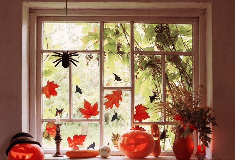 A window with leaf and spider decorations.