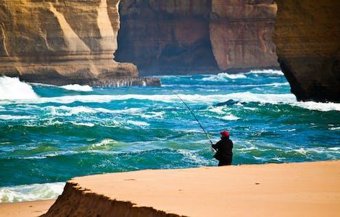 A man goes fishing.