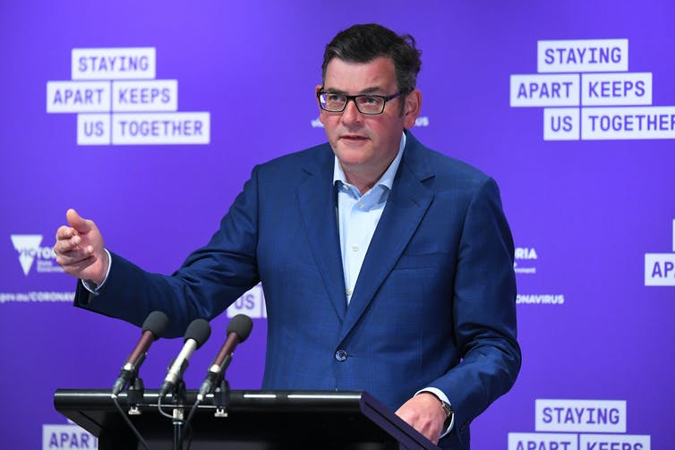 Victorian Premier Daniel Andrews at a press conference