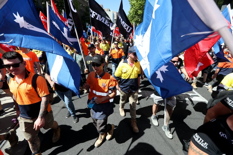 Members of the Construction, Forestry, Maritime, Mining and Energy Union and other workers rally in Adelaide in October 2019 to demand the introduction of industrial manslaughter laws