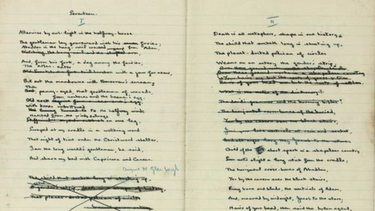 Two pages from a handwritten notebook of poetry containing revisions.