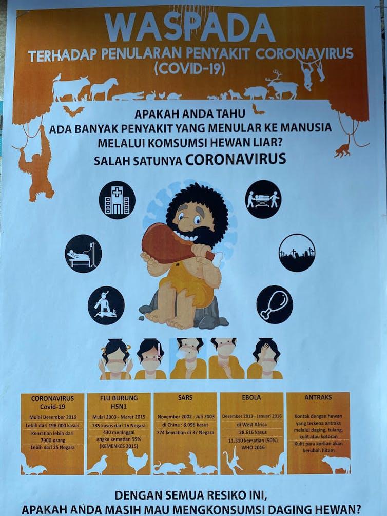Indonesian poster with cartoon caveman eating meat, described below.