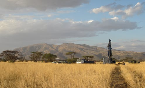 drill to extract sediment core in the East Africa Rift Valley