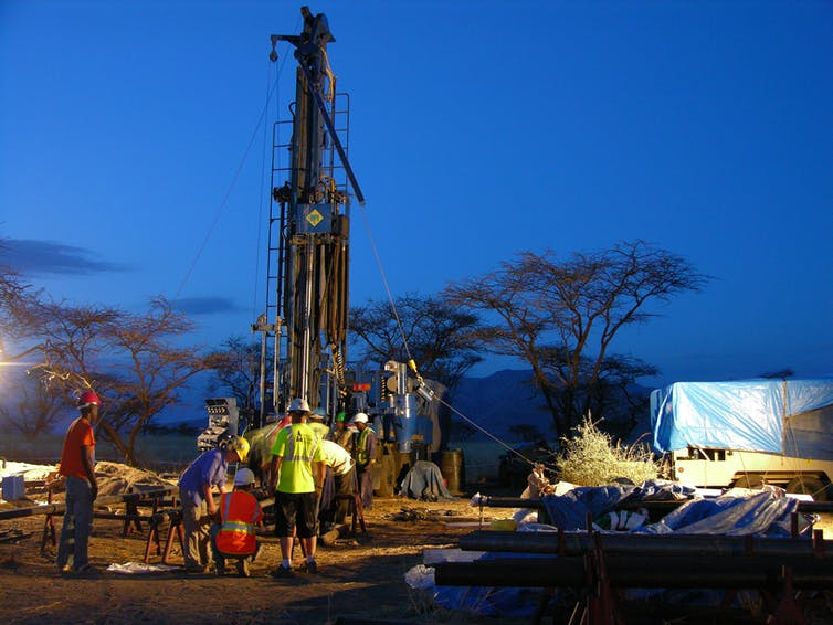drill team at work at dusk