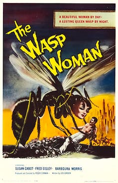 Movie poster shows a giant wasp with the face of a woman.