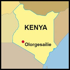 map locates the site in Kenya