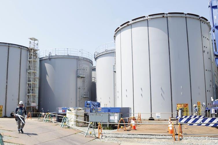 Four huge white tanks