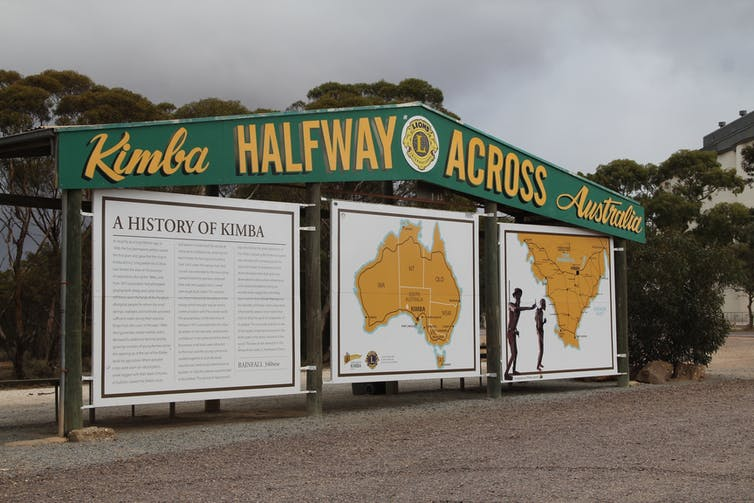 A sign noting that Kimba is halfway across Australia.