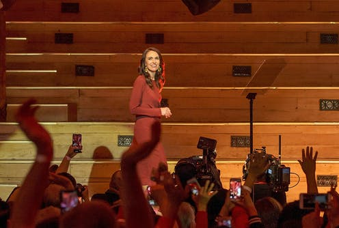 Labour's Jacinda Ardern before a cheering crowd on election night.