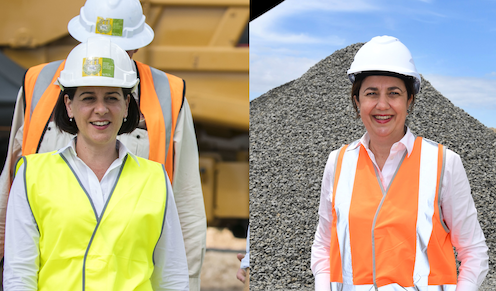 Opposition leader Deb Frecklington and incumbent premier Annastacia Palaszczuk in hi-vis and hard hats at mining and construction sites during the election campaign.