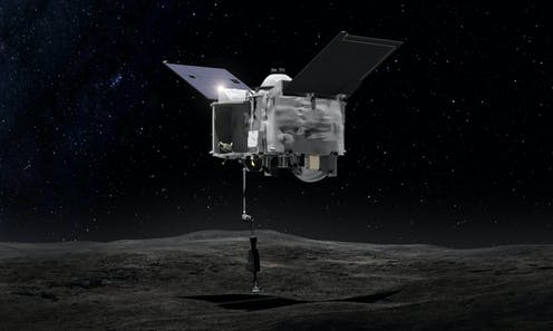 Artist's drawing of OSIRIS REx collecting material from Bennu.