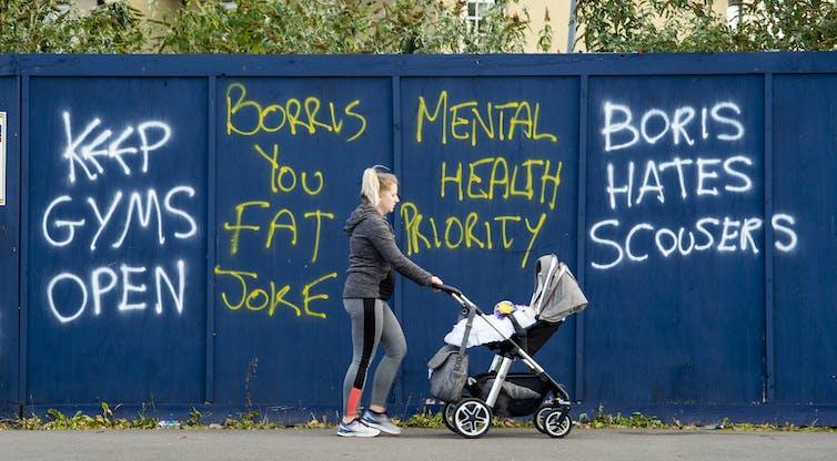 Grafitti criticising Boris Johnson in Liverpool.