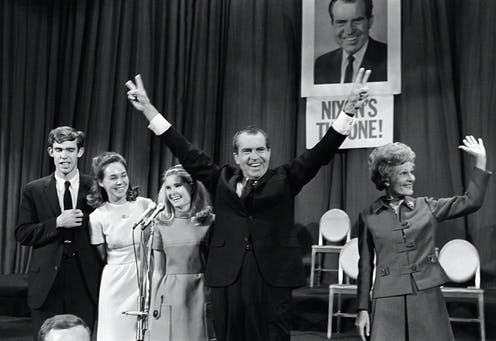 Richard Nixon, celebrating his election on Nov. 7, 1968 with his family.