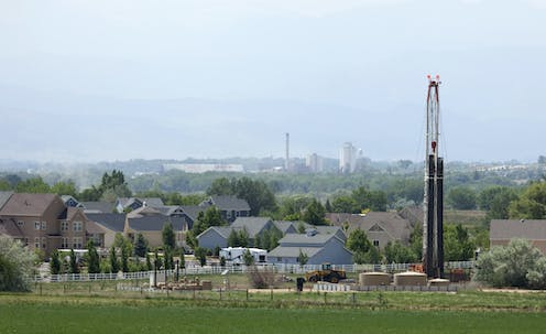 A fracking rig adjacent to a neighborhood in Colorado.
