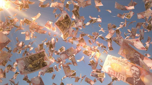 bank notes floating in the air
