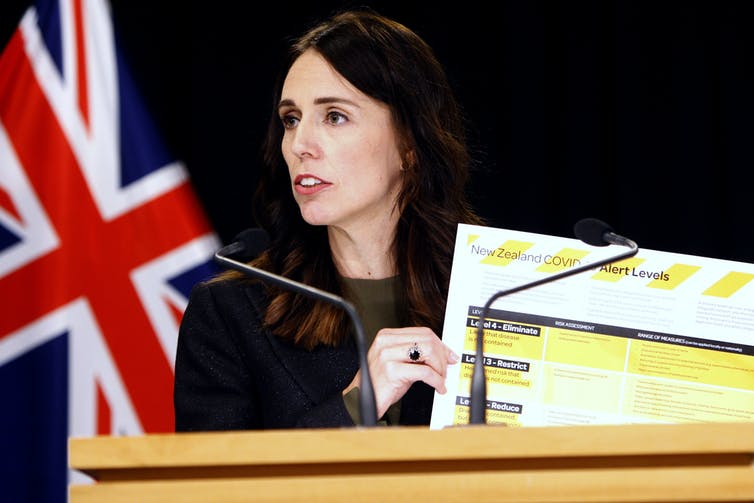 Jacinda Ardern holding up COVID-19 action plans.