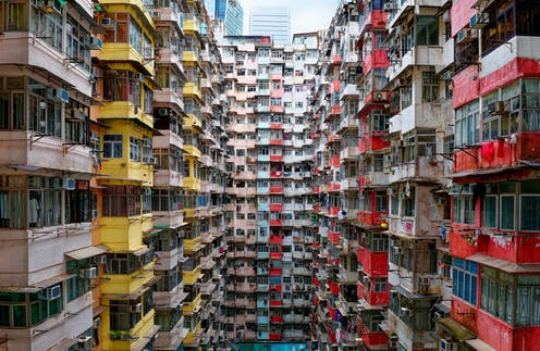 Crowded apartment housing in Hong Kong