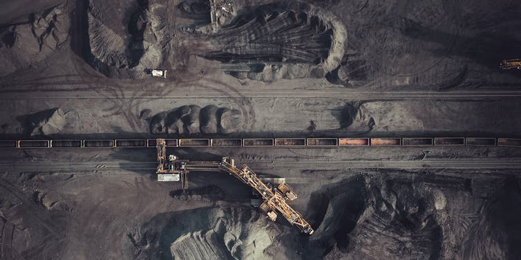 Aerial view of coal mine