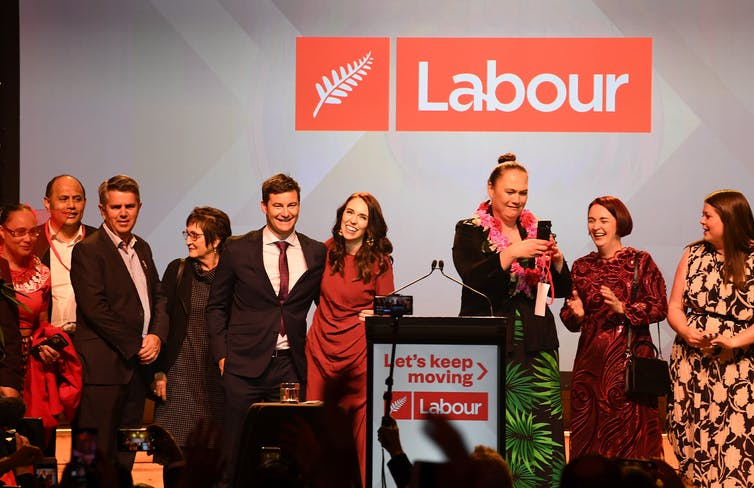 Labour Party and PM Jacinda Ardern after winning the 2020 election.