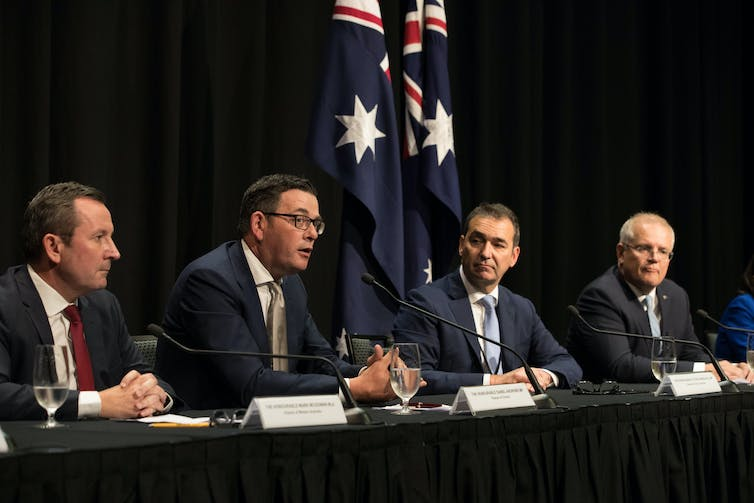 Premiers Mark McGowan, Daniel Andrews and Steven Marshall hold a press conference with Prime Minister Scott Morrison