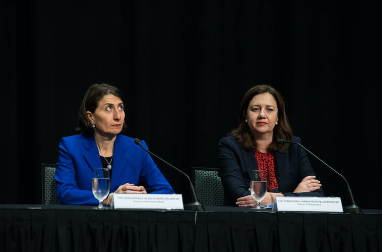 NSW Premier Gladys Berejiklian at a press conference with Queensland Premier Annastacia Palaszczuk