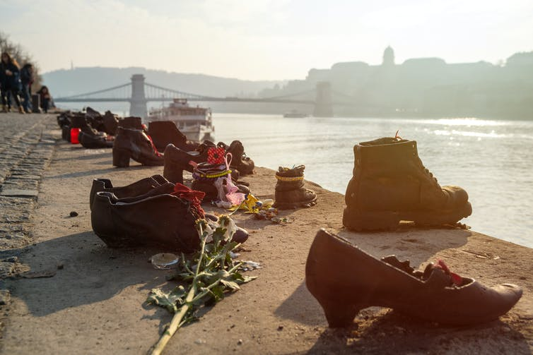 A bronze sculpture of shoes on the banks of the Danube in Budapest to represent the Jews shot there in the 1940s.
