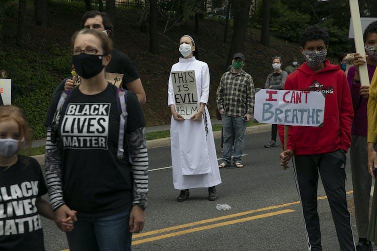 A nun protesting.