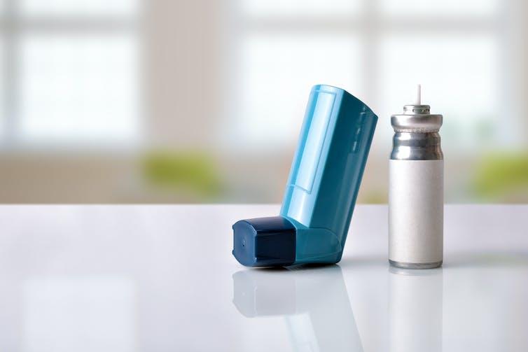 An inhaler on a table