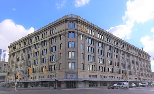 A photograph of the Hudson Bay Company's department store in Winnipeg