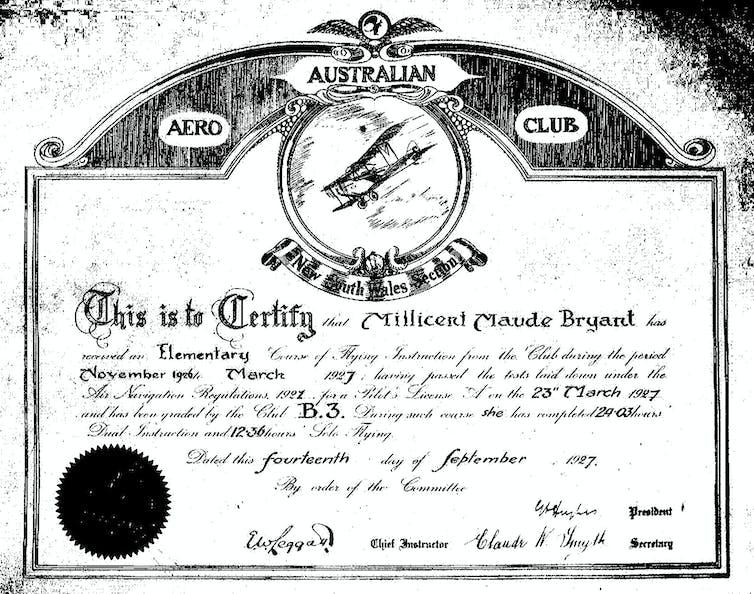 An image of Bryant's Aero Club training certificate.