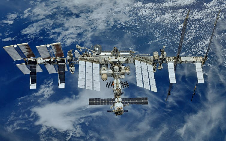 20 years of the International Space Station: The fully assembled International Space Station.