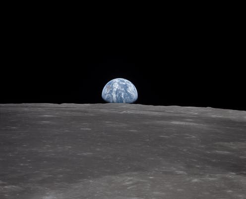 Earth seen from the lunar surface