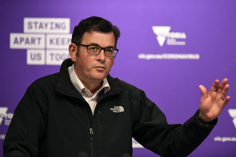 Victorian Premier Daniel Andrews at a press conference