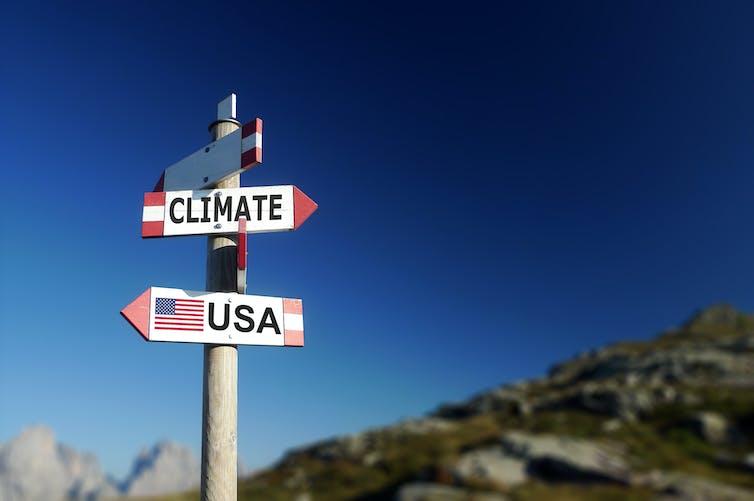 Señalizador de direcciones: CLIMA hacia un lado y USA hacia el contrario.