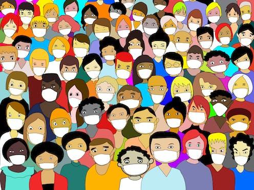 Ilustración de muchas personas diversas con mascarilla.