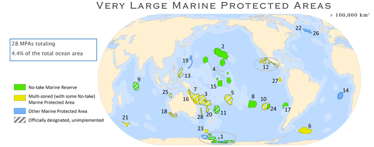 A world map showing the locations of marine protected areas.