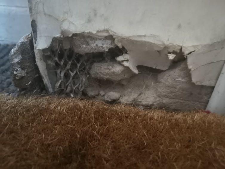 Photo showing disintegrating wall