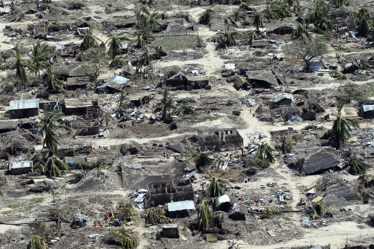 Aerial image of destroyed homes.