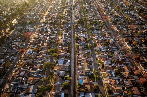 An aerial view of a suburb in Los Angeles shot during 'golden hour'