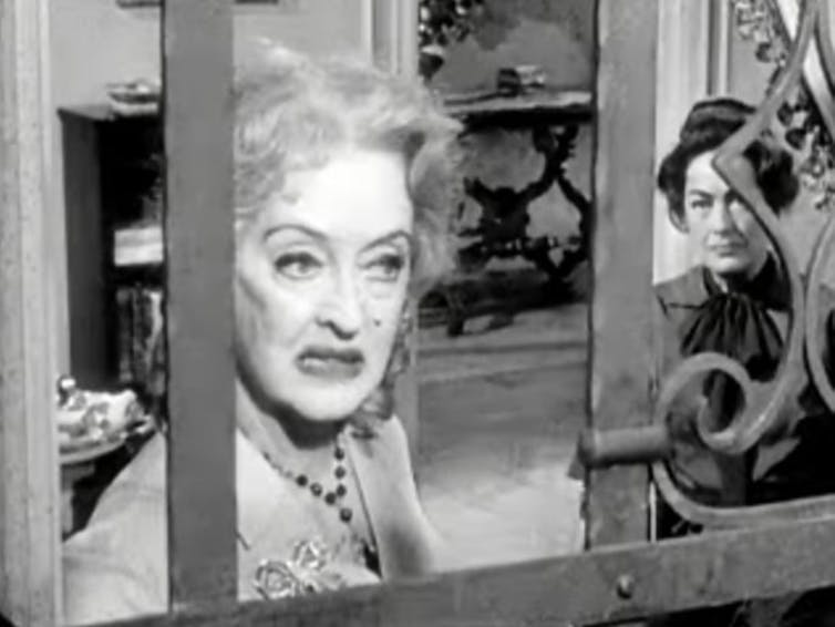 Bette Davis and Joan Crawford in a still from the 1962 movie Whatever Happened to Baby Jane?