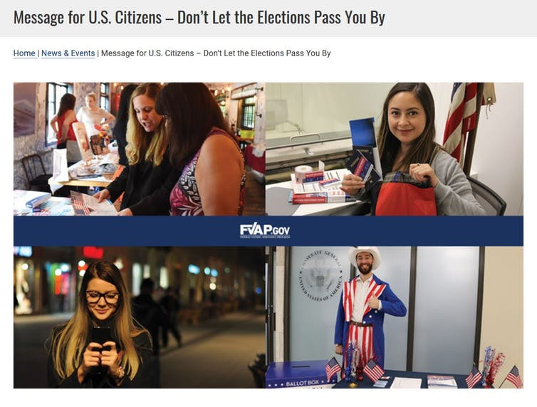 Four images of overseas voters and the message 'Don't Let the Elections Pass You By'