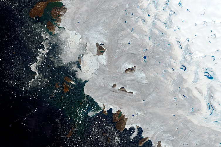 Aerial view of ice and sea.